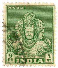 Hindu God on India Postage Stamp (Trimurti)