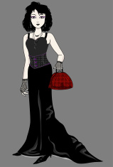 Goth Girl Holding Purse