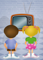 children in front of the television