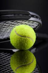 Set of tennis. Racket and ball.