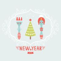 Vector christmas greeting card with spoon, plug, tree