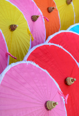 Traditional Thai bamboo umbrellas