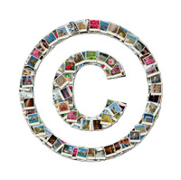 Copyright sign, conceptual illustration made like collage of tra