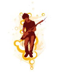 Guitarist over bubbles