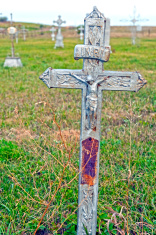 Wrought iron cross at German cemetery in North Dakota