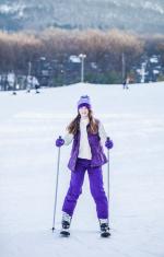 Girl at the Bunny slope at the Ski Resort
