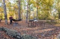 Man hanging camping hammock