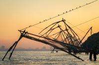 Chinese fishing net at sunrise in Cochin (Fort Kochi)