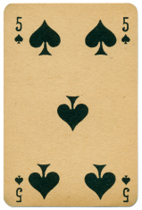 Stylish Five of Spades Biermans playing card Belgium 1910