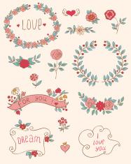 Romantic doodle elements