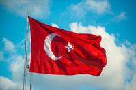 Turkish flag on sky background