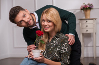 Lovely couple waiting St. Valentine Day
