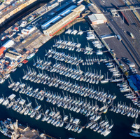 Yachts at a boat club in Cape Town harbour