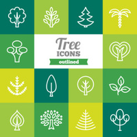 Set of flat outlined tree icons