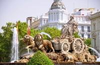 Majestic Cibeles Fountain on Plaza de Cibeles in Madrid, Spain