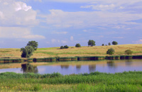 Rural landscape with a lake