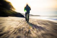 Nordic walking sport run walk motion blur outdoor person sea