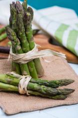 fresh green bundles of asparagus