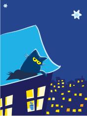 Cat on a moonlit roof