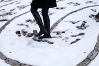 Woman walking on a laberynth