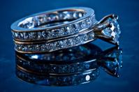 diamond wedding band and ring (reflected)