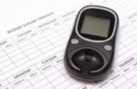 Glucose meter on empty medical forms for diabetes