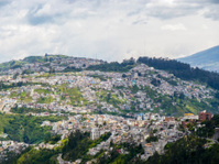 houses at a hill in Quito