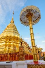 Golden pagoda at Doi Suthep temple, landmark of Chiang Mai
