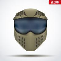 Khaki paintball mask with goggles. Original design. Vector
