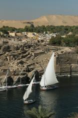 Elephantine Island Ruins with Nile river felucca boats Aswan Egy
