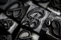 Antique typography metal letters macro