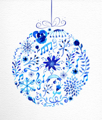 Merry Christmas hand drawn bauble illustration