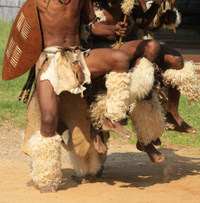 Zulu warriors battle dance