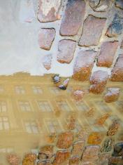 Building reflecting in cobblestone