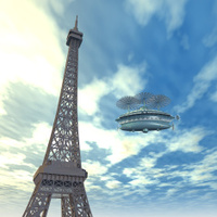 Eiffel Tower and Fantasy Airship