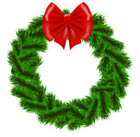 Wreath painted image holiday decoration evergreen wreath christmas