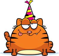 Cartoon Cat Drunk Party