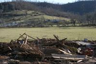 Tornado damage to a barn