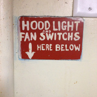 Handmade sign in a commercial kitchen
