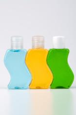 Three bottles of shampoo