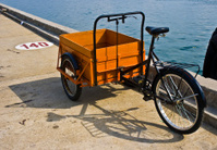 Tricycles with orange cargo box