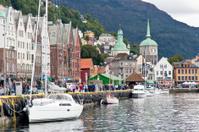 Boats along the Bryggen (wharf)  in  Bergen, Norway