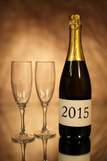 New Year 2015 Champagne Bottle and Glasses