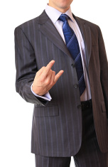 Businessman shows a gesture.