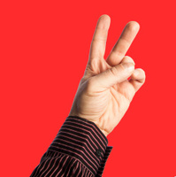hand sign victory isolated