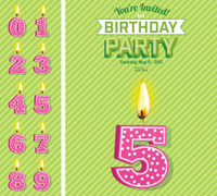 Bright Birthday Card Template With Number Candles Set