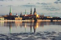 Panorama of Riga in the spring of the Daugava
