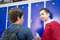 Turkish Students Talking at Lockers, School Hallway, Istanbul