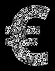 Euro Symbol on Black Background
