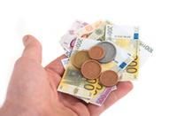 play money in human hand - Spielgeld Euros